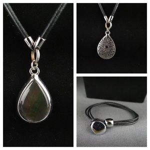 Lia Sophia reversible necklace black leather MOP